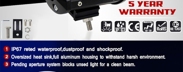 Joyshine 4″ 36W 6000K Cold White IP67 Two Rows LED Light Bar