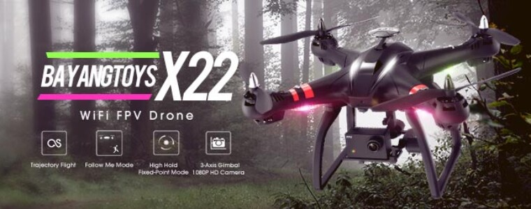 BAYANGTOYS X22 Brushless Dual GPS WIFI FPV with 3-Axis Gimbal 1080P Camera RC Drone Quadcopter RTF   UP TO 42% OFF