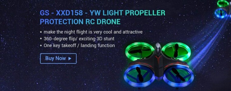 GS – XXD158 – YW Light Propeller Protection RC Drone – BLACK 263610501 Altitude Hold One Key Takeoff / Landing